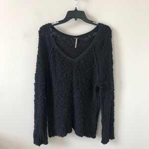 Free People Black Chunky Nubbed Sweater- Size S